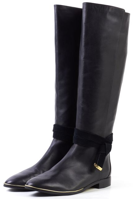 TED BAKER Black Leather Knee-high Tall Boots