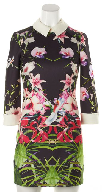 TED BAKER Black Pink Purple Green Floral Sheath Collared Zip Up Dress