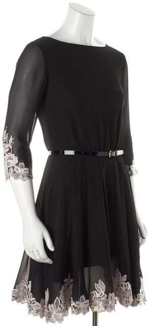 TED BAKER Black Embroidered Trim Sheath Dress