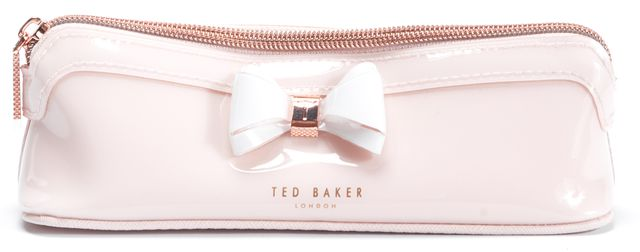 TED BAKER Pink White PVC Bow Pencil Cosmetic Bag