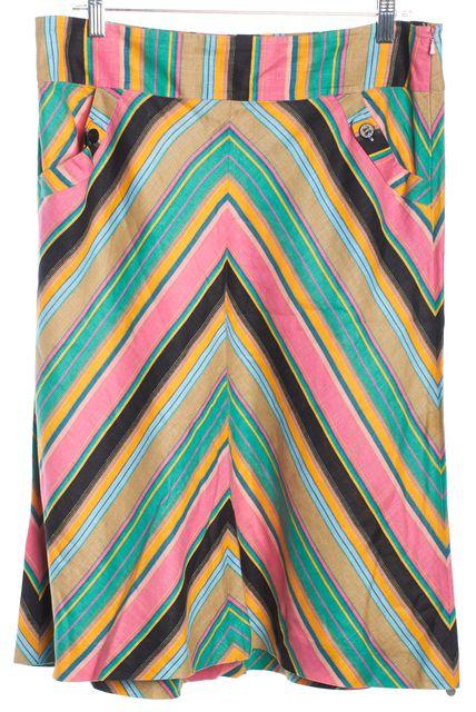 TED BAKER Multi-color Striped Linen A-Line Skirt