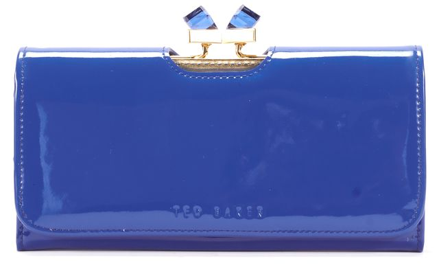 TED BAKER Blue Patent Leather Glass Crystal Detailed Kiss-Lock Long Wallet