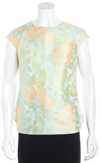 TED BAKER White Multi-Color Sleeveless Floral Blouse