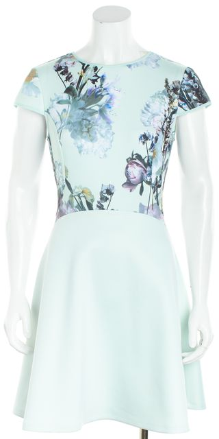 TED BAKER Mint Green Cap Sleeve Floral Fit & Flare Dress