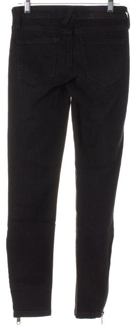 TEXTILE ELIZABETH & JAMES Black Alice Zipper Detail Skinny Jeans