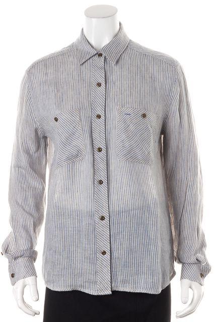 TEXTILE ELIZABETH & JAMES Blue Gray Striped Linen Button Down Shirt Blouse