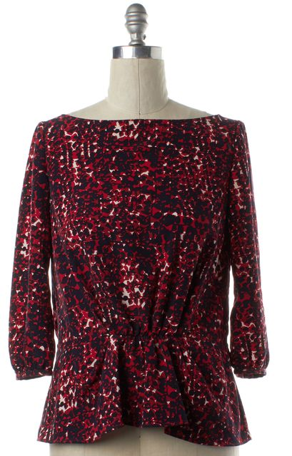 THAKOON Red Black White Abstract Print Blouse Top