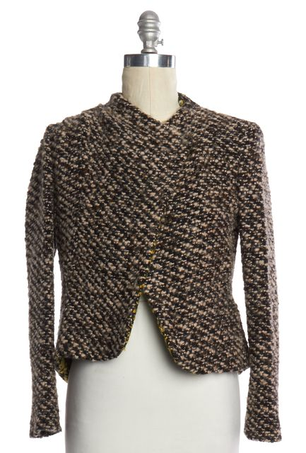 THAKOON Beige Black Knit Single Snap Button Jacket