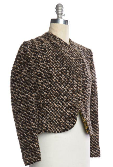 THAKOON Beige Black Knit Single Snap Button Jacket
