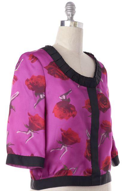 THAKOON Purple Floral Print Silk Basic Jacket