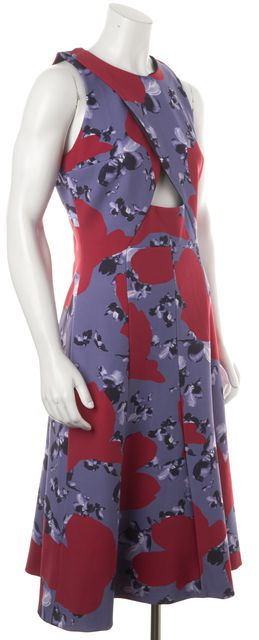 THAKOON Pink Purple Floral Cut Out Flare Dress