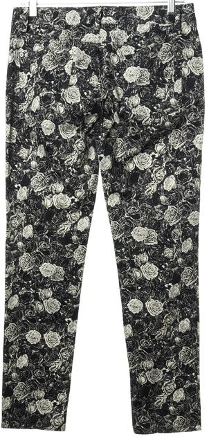 THAKOON Black White Floral Printed Stretch Cotton Slim Leg Trousers Pants