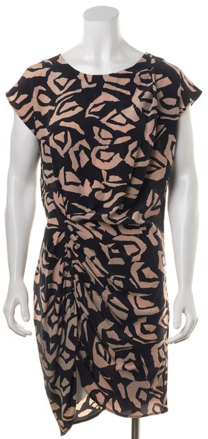 THAKOON Black Beige Abstract 100% Silk Asymmetrical Hem Dress