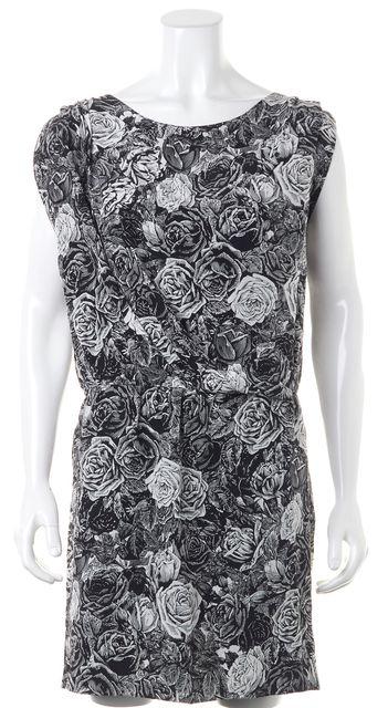 THAKOON Black White Floral Print Silk Boat Neck Blouson Dress