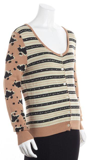 THAKOON Light Brown Black Leopard Print Scattered Strip Cardigan