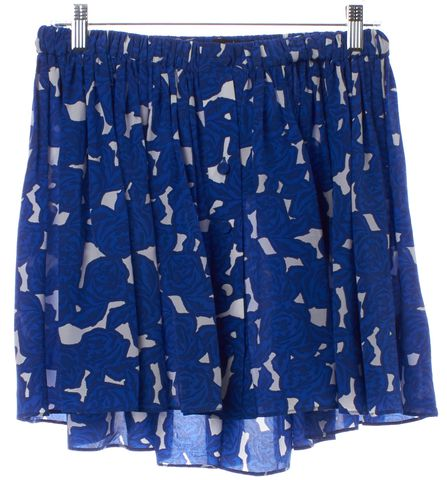 THAKOON ADDITION Blue Abstract Print Silk Mini Skirt