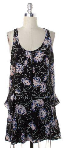 THAKOON ADDITION Black Multi Floral Silk Tiered Sleeveles Shift Dress