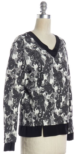 THAKOON ADDITION White Black Floral Knit Silk Trim Long Sleeve Top