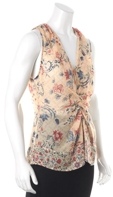 THAKOON ADDITION Ivory Blue Red Pink Abstract Print Gathered Blouse Top