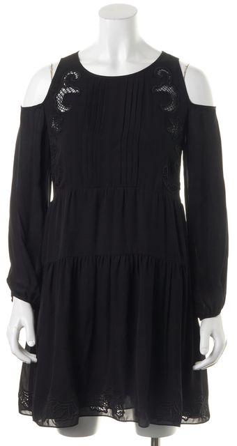 THAKOON ADDITION Black Floral Embroidered Silk Cold Shoulder Shift Dress