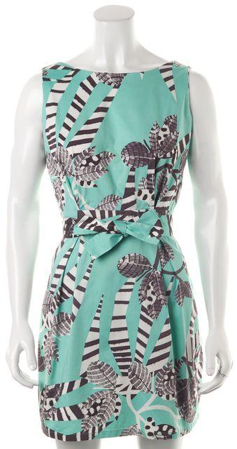 THAKOON ADDITION Green White Animal Print Sleeveless Sheath Dress