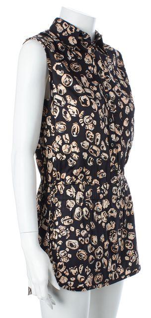 THAKOON ADDITION Black Beige Abstract Silk Sleeveless Romper
