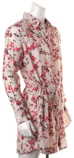 THAKOON ADDITION Beige Pink Red Floral Silk Above Knee Shirt Dress