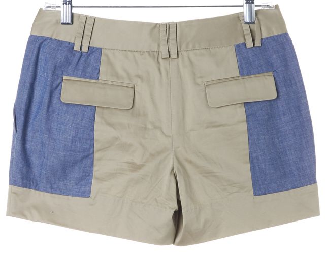 THAKOON ADDITION Beige Blue Color Block Chambray Casual Shorts