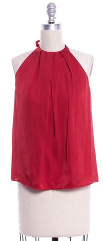 THEORY Red Silk Halter Top