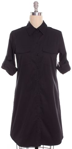 THEORY Black Rolled Short Sleeve Button Down Cotton Shirt Dress
