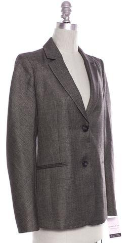 THEORY Gray Wool Metallic Finish Two Button Blazer
