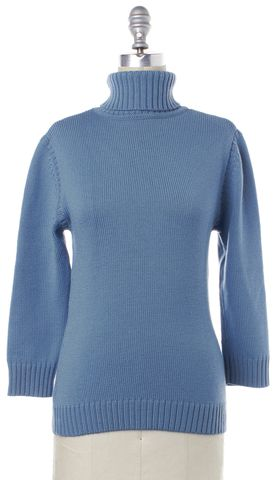 THEORY Blue Wool Chunky Knit Turtleneck Autumn Winter Sweater