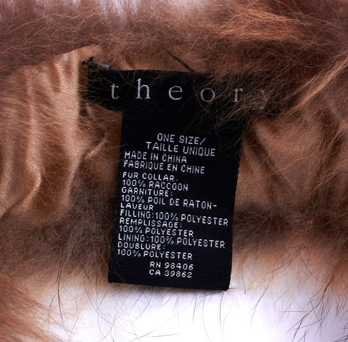 THEORY SandBlack Raccoon Fur Tie Around Collar