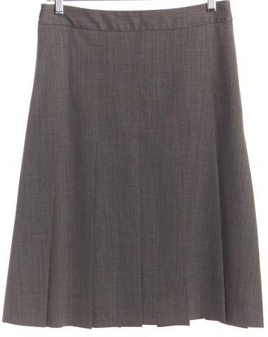 THEORY Gray Wool Pleated Skirt