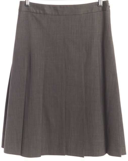 THEORY Gray Wool Pleated Skirt