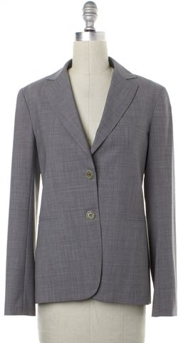 THEORY Gray Two Button Notched Lapel Wool Blazer