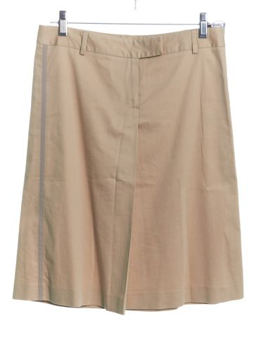 THEORY Beige Front Pleat Cotton Straight Skirt
