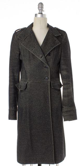 THEORY Black Herringbone Alpaca Double Breasted Coat