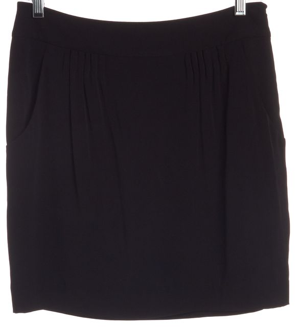THEORY Black Silk Above Knee Straight/Pencil Skirt