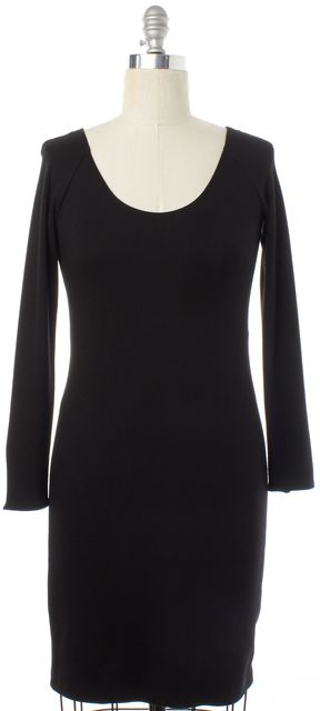 THEORY Black Long Sleeve Stretch Dress
