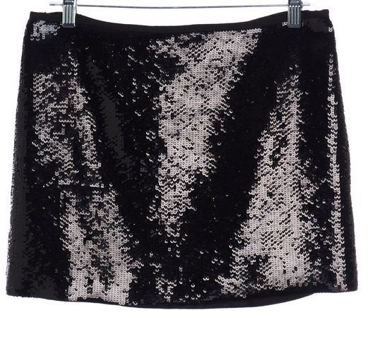 THEORY Black Sequin Mini Skirt Size 6