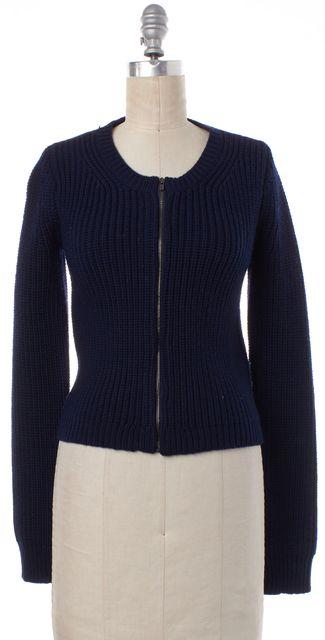 THEORY Navy Blue Wool Leather Shoulder Zip Up Basic Jacket