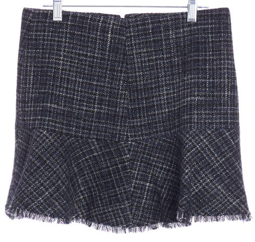 THEORY Navy Blue White Black Multi Tweed Wool A-Line Skirt