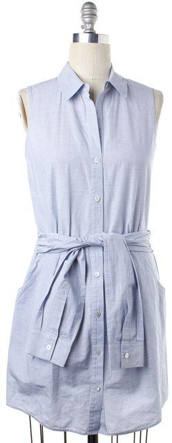THEORY Light Blue Plaids & Checks Shirt Dress