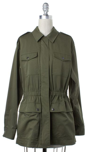 THEORY Army Green Zip Up Jacket