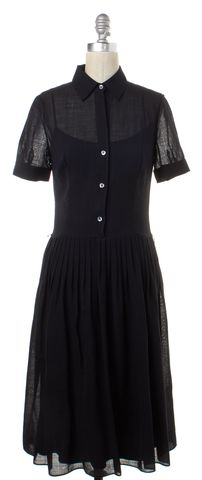 THEORY Black Wool Fit & Flare Dress Size 4