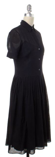 THEORY Black Wool Fit & Flare Dress