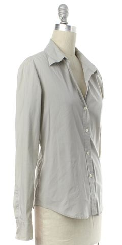THEORY Gray White Striped Button Down Shirt