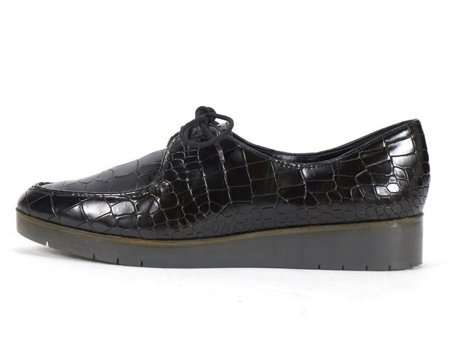 THEORY Black Croc Embossed Leather Lace Up Creeper Style Oxfords