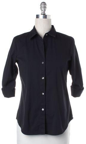 THEORY Navy Blue V Neck Button Down Shirt